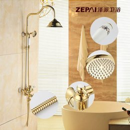 the new blue and white porcelain highend bathroom shower faucet pengtou golden vintage copper shower suite