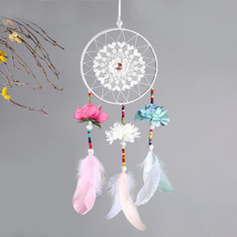 marriage wedding car NZ - 2018 Wedding Decoration Handmade Dream Catcher Net With Feathers Flower Wind Chimes Dreamcatcher Hanging Craft Party Gift