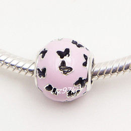 100% 925 Sterling Silver Abstract Bead Charm with Pink Enamel Fits European Pandora Jewelry Bracelets & Necklaces