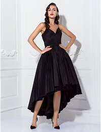 Barato Desconto Preto Vestidos-2016 Novo Desconto Hot Fashion Black Plus Sizes Bola Vestido Spaghetti Correias Draping Assimétrico Tafetá Partido / Homecoming / Vestidos Cocktail