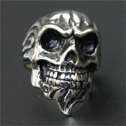 Top China Wholesale Fashion Jewelry NZ - 3pc lot Size 8-13 Newest Design Punk Skull Ring 316L Stainless Steel Top Quality Fashion Jewelry Beard Skull Ring