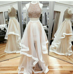 Qatar dresses online shopping - Two Pieces Champagne Prom Dresses Formal Prom Gowns Occasion Dresses A Line Sheer Neck Rhinestones Beaded Long Party Celebrity Qatar