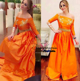 Barato Vestido De Laranja Tafetá-Vestido de noiva em laranja A-Line 2016 New Arrival Off-Shoulder 3/4 de mangas compridas Beads Applique Prom Gowns Evening Dress Custom