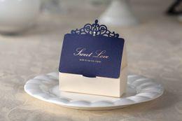 Wholesale Wedding favors boxes gift boxes candy box blue party favor boxes wedding favours gift boxes laser boxes