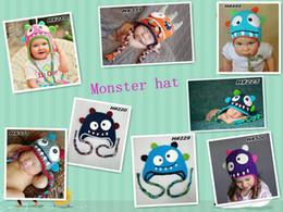 free crochet baby girl beanies Canada - Free Shipping Crochet Monster Knitted Hat Newborn Infant Toddler Cap Baby Boy Girl Cartoon Animal Hat Winter Children Beanie Earflaps Cotton