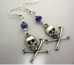 Chinese  Wholesale 50Pair Fashions Silver Bali Style Skull Crossbones &Glass Bead Dangle Earrings For Women With Gift Box Jewelry M2826 manufacturers