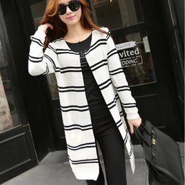 Discount Black And White Striped Cardigan | 2017 Black And White ...