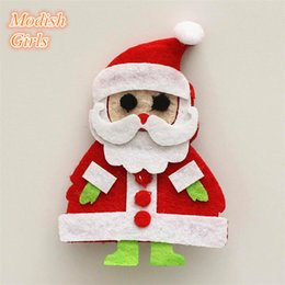 Wholesale 2015 Christmas Santa Claus Gift Hair Clips Red Christmas Father Kids Handmade Hair Accessories Felt Lovely Baby Girls Jewelry Hotsale