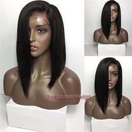 MediuM long straight hair online shopping - Human Hair Lace Front Wig Side Part Straight Brazilian Virgin Hair Wig Pre plucked Short Bob Wigs For Black Women