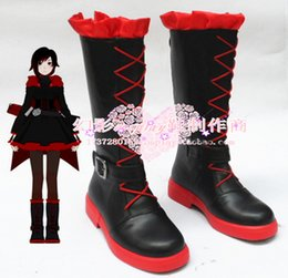 Costumes En Rubis En Gros Pas Cher-Gros-RWBY Ruby Rose Cosplay Chaussures Bottes Custom made