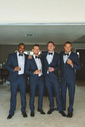 $enCountryForm.capitalKeyWord Canada - 2015 Navy Blue Groomsmen Tuxedos Wedding Suits Groom Best Man Real Wedding Original Suits Two Buttons Tuxedos Wear (Jacket+Pants+Bow Tie)