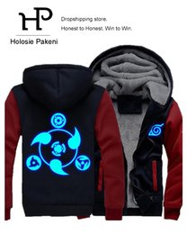 Barato Cosplay Dropshipping-Atacado- Dropshipping Anime NARUTO Akatsuki Cosplay Luminous Jacket Sweatshirts Thicken Hoodie Coat NARUTO Cosplay Costume
