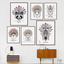$enCountryForm.capitalKeyWord NZ - Modern Indian Animals Head Deer Horse Zebra A4 Poster Hippie Feather Wall Art Picture Nordic Home Decor Canvas Painting No Frame