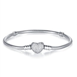 China New European Snake Bracelet With AAA CZ Heart Clasp Authentic 925 Sterling Silver Bracelets for Women Jewelry Diy Jewelry Accessories cheap women silver ring bracelet set suppliers