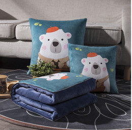 $enCountryForm.capitalKeyWord Australia - Winter extra thick coral fleece pillow cushion quilt blanket for office home and the car size 40*40cm and 50*50cm solid and printing design