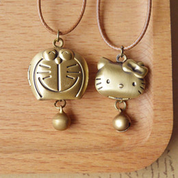 Rope Necklaces For Kids Canada - Cartoon Doraemon Hello Kitty Bronzed Locket Pendant Necklace with Bell Openable Japanese KT Jewelry for Kids Birthday Gifts nxl038