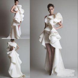 $enCountryForm.capitalKeyWord Canada - Prom Dresses One Shoulder Appliques Ruffles Sheath Hi-Lo Organza Pageant Dress White Ivory Krikor Jabotian Tiered Bridal Gowns