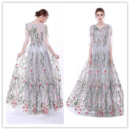 Barato Padrões De Vestidos De Noite Sexy-2018 New Sexy Floral Flowers Pattern Print Illusion Prom Dresses Robe de Soiree Meia-manga Top Formal Evening Party Gown