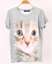$enCountryForm.capitalKeyWord Canada - Hot style t-shirts European style big shop sign model of cute cartoon cat sets 3D printing round collar knitting tees for ladies