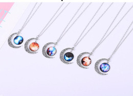 Universe Pendant Canada - New Vintage starry Moon Outer space Universe Gemstone Pendant Necklaces Mix Models