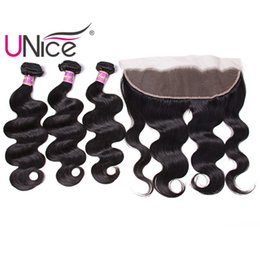 Chinese  UNice Hair Virgin Peruvian Body Wave Bundles With Frontal Closure Hair Weaves With 13x4 Lace Lace Frontal Ear to Ear Weaves Closure Remy manufacturers