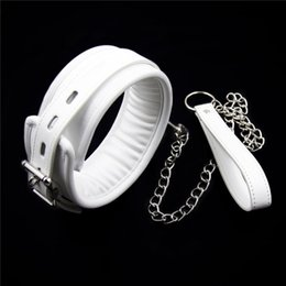 $enCountryForm.capitalKeyWord Canada - White PU Leather Neck Collar With Chain Slave Bandage Restraints Sex Toys For Couples Adult Games