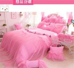 palace princess girl 100 cotton 3pcs kid 4pcs adult pure pink lace bedskirt blanket duvet cover pillowcase bedding set b3824