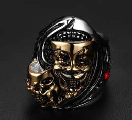 skull rings 2019 - Europe High quality fine skull ring fashion both Ghost Head fashion ring mix size 8-12# RC-177 cheap skull rings