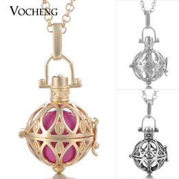 Chinese  VOCHENG Caller Harmony Round Cage Pendant Long Sweater Necklace Angel Ball Pendants with Stainless Steel Chain VA-062 manufacturers