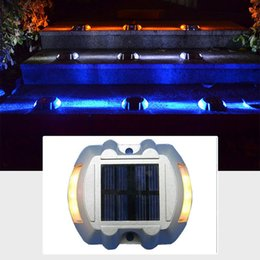 Discount indoor step lights - Solar Led Pathway Marker Road Stud Light Dock Driveway Path Warning Lights Solar Dock Lights for Deck Driveway Garden Wa