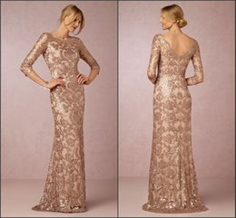 Robe De Soirée Formelle À Manches Longues Pas Cher-Long Sleeve Rose Gold Mère de la mariée Robes 2018 Bateau Neck Vintage Lace Sweep Train Formal Evening Party Wear BA0528