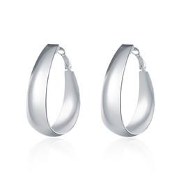 $enCountryForm.capitalKeyWord UK - Fashion Women's Silver Earrings , 925 Silver Hoop Earrings Party Smooth Egg Shape Ear rings Mark 925 Jewelry Free Shipping e018