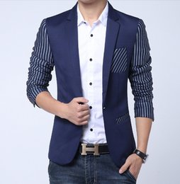 Veste Décontractée En Mode Uk Pas Cher-Gros-UK style Stripe Men Blazer 2016 Nouvelle Collection Classique Fashion Marque One Button Suit Casual Blazer Vestes mens velours bleu Blazer