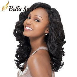 Big Black Wigs Canada - Big Curly Wigs for Black Women 100% Human Hair Lace Wigs Natural Color Virgin Hair Lace Front Wigs Bellahair