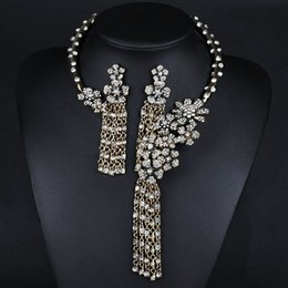 Necklace big tassel online necklace big tassel for sale ladies necklace n00107 europe exaggerated big fashion pendant necklace set diamond tassel flower design chain two piece aloadofball Images