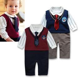 $enCountryForm.capitalKeyWord Canada - Baby boy Tuxedo Romper Vest Tie Rompers for boys clothes Retail Long Sleeve Bodysuits Top Quality