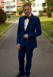 Barato Casaco Azul Real Para Homens-Royal Blue Men Wedding Trajes 2018 Latest Coat Pant Designs Custom Made Two Pieces Suit For Men