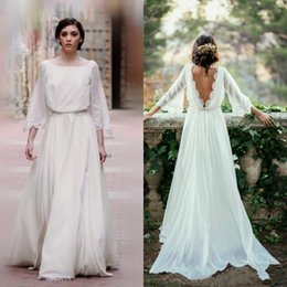 Barato Quadrado Boémio Vestido De Casamento-2018 New Fall Wedding Dresses do país Square Neckline Sweep Train Low Cut Back Ivory Chiffon Bell Sleeves Boho Bohemian Wedding Dresses 149