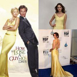 Venta al por mayor de Kate Hudson, vestido de fiesta de la tarde amarilla sobre cómo perder a un chico en 10 días / vestidos de celebridades / vestidos en películas