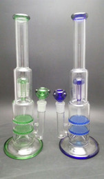 double honeycomb arm perc bong 2019 - 15.35 inch Glass Bong Glass Water Pipes with 8 arm tree perc and double layer honeycomb perc 18.8mm joint glass bowl