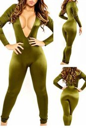 army green bodysuit Canada - Army Green Deep V Bodysuit LC6845 FG1511