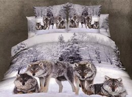 3d 4pc Quilt Bedding Set Canada - nature pure cotton grey background with wolf Duvet Quilt covers Queen bedding 3D digital wolf printing 4pc set FREE SHIPPING