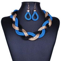 golden earring necklace 2019 - Fashion Exaggerated Crude Preparation of Metal Chain Necklace retro big earrings sets of chain cheap golden earring neck