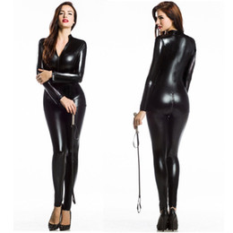 Barato Artilharia De Escravidão De Couro Sexy-Sexy Women Faux Leather Metal PVC Fetish Gothic Catsuit Bodysuit Wetlook Latex Jumpsuit Bondage Harness Costumes