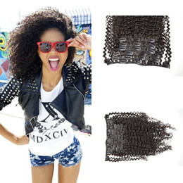 Afro Kinky Hair Shipping NZ - Clip in human hair extensions 120g 7pcs 4a,4b,4c Natural color G-EASY afro kinky curly clip human hair extensions Free shipping