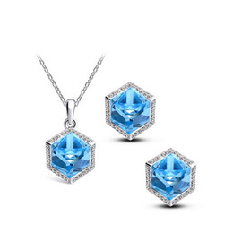 $enCountryForm.capitalKeyWord Canada - square shape trend of Korean dream cube 6 colors Austria crystal female necklace earrings Jewellry set free shipping factory wholesalse 5485