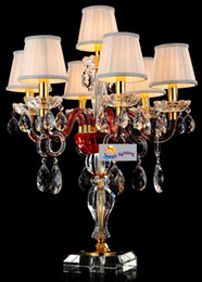 crystal light shades NZ - Modern Wedding Red crystal table lamps with shades 7 lights large Restaurant candle holder light Kitchen table light multi-color candelabra