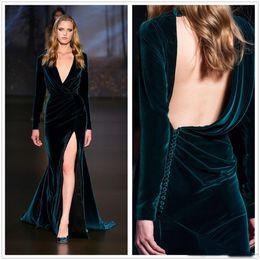 $enCountryForm.capitalKeyWord NZ - Dark Green Velvet Long Sleeves Formal Evening Dresses 2017 Winter Plunging V Neck Side Split Pleats Runway Celebrity Gown Custom