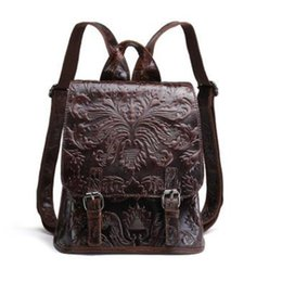genuine leather rucksack Australia - New Women Vintage Embossed Backpack Genuine Leather Daypack Shool Bag High Quality Cowhide Knapsack Ladies Travel Rucksack J193