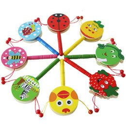 drums musical instruments for kids 2020 - Toddler Newborn Toys Wooden Rattle Drum Cartoon Musical Instrument Toy Infant Early Education Toys Gift for Kids